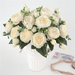 5 Big Heads/Bouquet Peonies Artificial Flowers Silk Peonies Bouquet 4 Bud Flowers Wedding Home