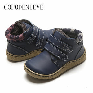 COPODENIEVE Children's boots, children's shoes, leather children's boots, thickening and warmth