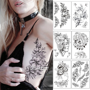 Sketch Flower Blossom Peony Rose Waterproof Temporary Tattoo Sticker Black Tattoos Body Art Arm Hand