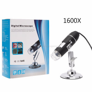 1600X USB Digital Microscope Camera Endoscope 8LED Magnifier with Metal Stand J21 19