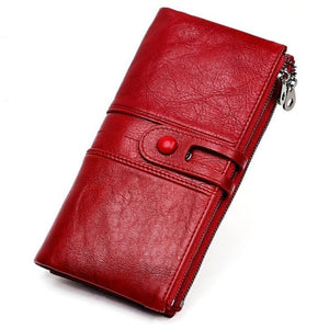 Women Purses Long Zipper Genuine Leather Ladies Clutch Bags With Cellphone Holder High Quality
