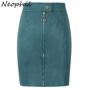 Neophil Women Suede Mini Pencil Skirts Female Vintage Style Winter Front Zipper Button Ladies Short Skirts Tutu Saia S1911
