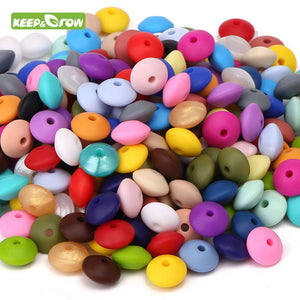 Keep&grow 50Pcs/lot Baby Lentils Beads Silicone Beads Abacus Lentils 12mm Baby Teether DIY