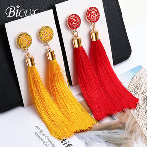 BICUX Fashion Bohemian Tassel Crystal Long Earrings White Red Silk Fabric Drop Dangle Tassel