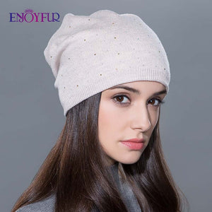 Women's winter hat knitted wool beanies female fashion skullies casual outdoor ski caps thick warm