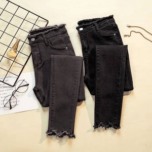 JUJULAND 2019 Jeans Female Denim Pants Black Color Womens Jeans Donna Stretch Bottoms Feminino