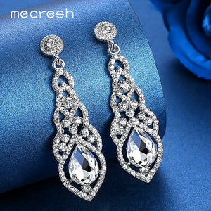 Mecresh Crystal Wedding Drop Earrings for Women Silver Black Gold Color Korean Bridal Dangle Earring