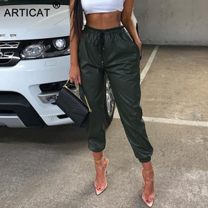 Articat 2019 New PU Leather Women Harem Pants Casual High Waist Elastic Faux Leather Trousers For