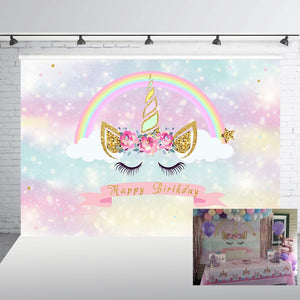 Unicorn Backdrop for Birthday Party Pink Magic Sky Floral Rainbow Newborn Baby Shower Photography Background Photo Booth W-812