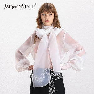 TWOTWINSTYLE Elegant Perspective Womens Tops And Blouses Lantern Sleeve Lace Up Plus Size Shirts