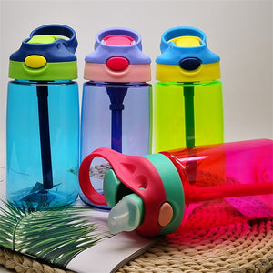New 500ML 4 Colors Baby Water Bottles Infant Newborn Cup Children Learn Feeding Straw Juice Drinking Bottle BPA Free for Kids