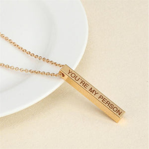 Four Sides Engraving Personalized Square Bar Custom Name Necklace Stainless Steel Pendant Necklace