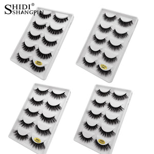 SHIDISHANGPIN 5pairs false eyelashes thick mink eyelashes 3d mink lashes natural false lashes