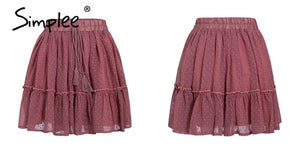 Simplee Casual polka dot mini women skirt High waist A line korean tassel pink summer skirt Sexy ruffle beach female skirts 2019