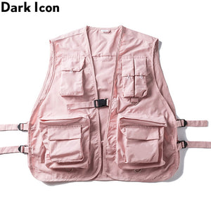 DARK ICON Military Multiple Pockets Cargo Vest Hip Hop Vest Men Dad Core Vest Sleeveless Jacket