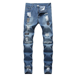 hole embroidered jeans Slim men trousers NEW 2019 men's Casual Thin Summer Denim Pants Classic