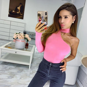 cotton halter one shoulder sexy bodysuit women winter spring solid bodycon casual long sleeve body