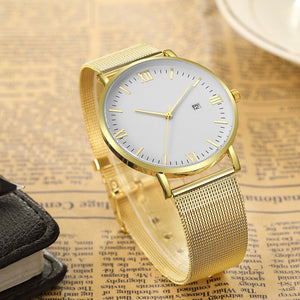 Luxury Quartz Ultrathin Leisure Stainless Steel Dial Leather Band Wrist Watch Men Watches relogio
