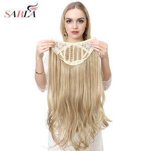 "SARLA 24"" U-Part Synthetic Hair Extension Clip In Long Thick Curly Natural Blonde Flase Hair"
