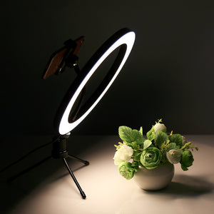 Photography LED Selfie Ring Light 26CM Dimmable Camera Phone Ring Lamp 10inch With Table Tripods For