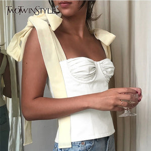 TWOTWINSTYLE White Crop Tops Female Sleeveless Bandage Short Strap Vest For Women Vintage Fashion Korean Summer Tide