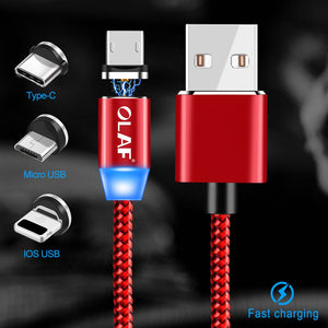 OLAF Magnetic Cable Braided LED Type C Micro USB magnetic usb charging cable for Apple iphone X 7