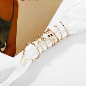 17KM Gold Sliver Rings Set For Women Vintage Heart Bow Twist Finger Ring 2019 Knuckle Female Fashion Jewelry Wedding Gifts