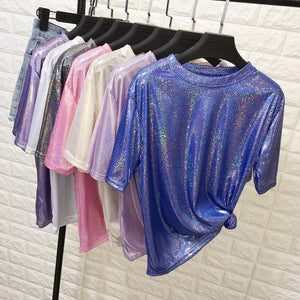 New summer retro style stylish bright silk woman tops shiny loose short sleeve t-shirt sexy club aesthetic harajuku women tshirt