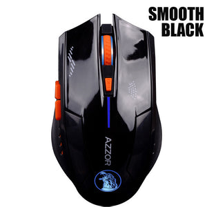 AZZOR Rechargeable Wireless Mouse Mute Butto Gaming Mice 2400 DPI 2.4G FPS Gamer Lithium Battery