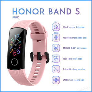 Original Huawei Honor Band 5 Smart Wristband Oximeter Magic Color Touch Screen Swim Stroke Detect