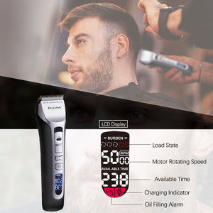 RUCHA Barber Electric Hair Clipper Rechargeable Hair Trimmer Titanium Ceramic Blade LCD Display