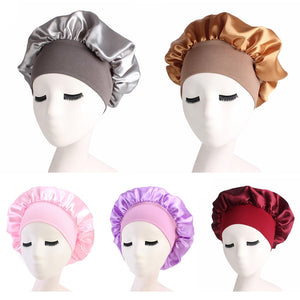 Women's Satin Solid Wide-brimmed Sleeping Hat Night Sleep Cap Hair Care Bonnet Nightcap For Women Men Unisex Cap bonnet de nuit