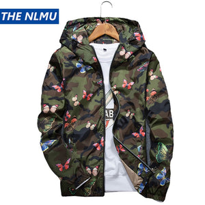 Mens Casual Camouflage Hoodie Jacket 2018 New Autumn Butterfly Print Clothes Men's Hooded