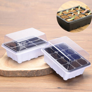 6/12 Plastic Nursery Pots Planting Seed Tray Kit Plant Germination Box with Dome and Base Garden