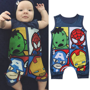 Pudcoco Newborn Baby Boy Girl Romper Summer Cartoon Sleeveless O Neck Cotton Clothes Toddler Kids Jumpsuit Clothing 0-24M