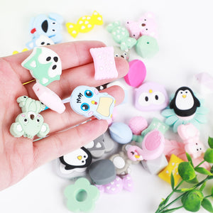 TYRY.HU 3pc/lot Baby Teether Pacifier Clips Chain Beads Pearl Silicone Teething Toys Food Grade Mini