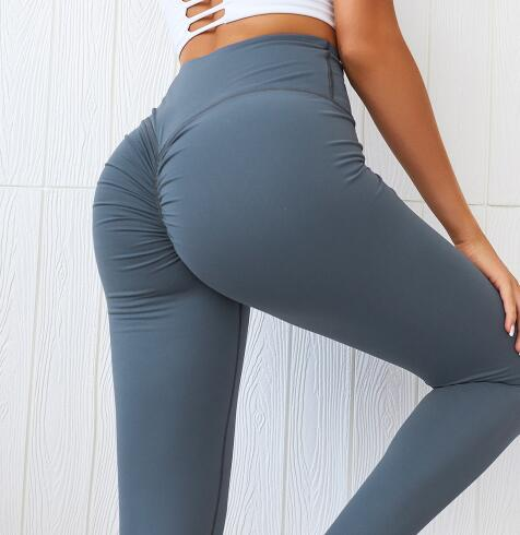 High Quality Scrunch Booty Fitness Athletic Leggings Women Soft Nylon Plain Wrokout Sport Training