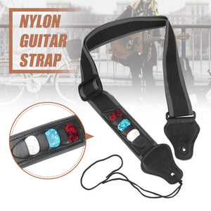 Adjustable Electric Guitar Strap Black with 3 Plectrums Guitar Pick Holders PU Leather Ends Acoustic Guitar Bass Strap Belt