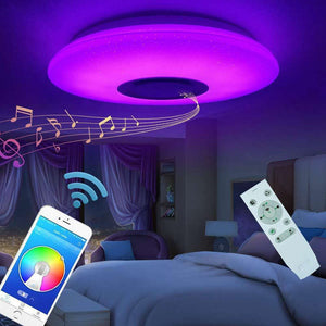 HOT Music Led Ceiling Light Lamp 60W Rgb Flush Mount Round Starlight Music With Bluetooth Speaker
