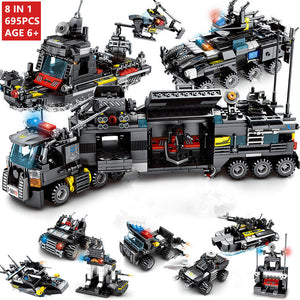 8pcs/lot 695Pcs City Police SWAT Building Blocks Compatible LegoINGlys City Blocks Technic Bricks Playmobil Toys for Children