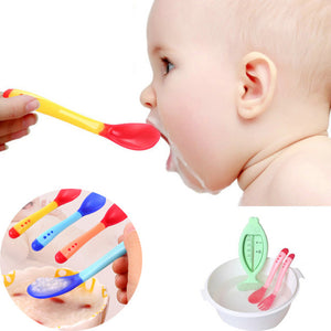 1pc Baby Safety Feeding Temperature Sensing Spoon Baby Silicone Spoon Kids Children Flatware Feeding Baby Spoons