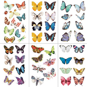 HXMAN Watercolor Butterfly Temporary Tattoo Sticker Waterproof Women Fake Tattoos Men Children