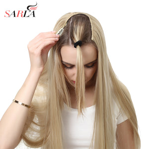"SARLA 24"" 170g U-Part Clip in Hair Extension Straight & Wavy Ombre One Piece Head Long Natural False"