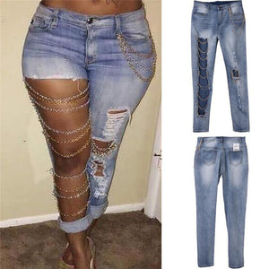 Sexy Women Destroyed Jeans Holes Chain Patchwork Skinny Bodycon Jeans Pants Ripped Boyfriend Pants