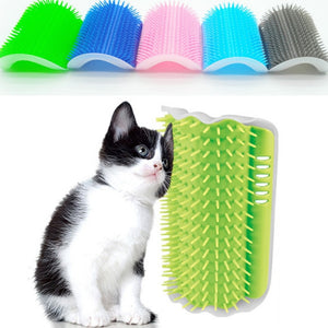 Cat Corner Brush For Long Hair Squeaky Face Massage Comb Comfortable Self Grooming Brush Free Hand
