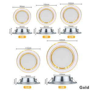 Downlight 5W 9W 12W 15W 18W Recessed Round LED Ceiling Lamp AC 220V 230V 240V Indoor Lighting Warm White Cold White