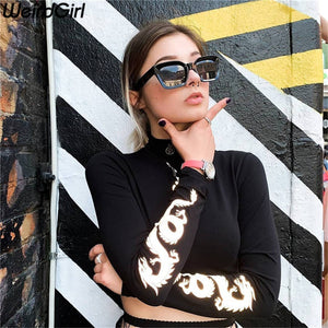 Weirdgirl Women dragon print T-shirts reflective fashion turtleneck Long Sleeve Slim Harajuku Female