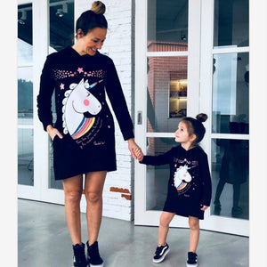 Mother Daughter Unicorn Print Sweatshirts Winter Family Matching Cute Clothes Outwear Mom And