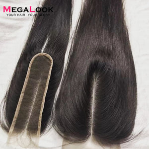 Megalook 2X6 Closure Kim k Closure Human Hair Closure 2*6 lace Straight Remy Brazilian Natural Color