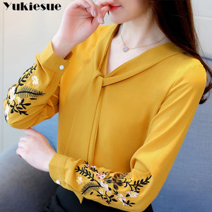 Long sleeve embroidery chiffon blouse womens tops and blouses shirt 2019 office lady shirt women